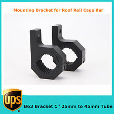 """Pair 1"""" LED Mount Bracket Clamps for Roof Roll Cage Bar 25mm to 45mm Tube B63"""