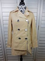 Steve Madden Trench Coat Womens Medium Brown Tan Casual Buttons Jacket Ladies