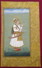 Hand Painted Mughal Maharajah Portrait King Miniature Painting Jahangir on Paper