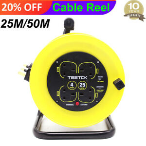 Outdoor Extension Cable Reel 15/25/50m 13A 4Way Gang Socket Electrical Lead UK