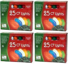 4 ea Holiday Wonderland 2524-88 25 ct Ceramic MULTI C7 Christmas Light Sets