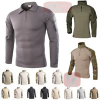 Men's Army Tactical Shirts Military Combat Shirt Casual Pullover T-Shirt Hiking