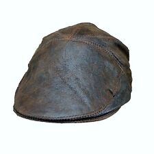 Real Leather Ivy Cap Distressed Leather Gatsby Newsboy Brown Flat Cap  Hat c94475998ed