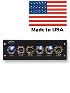 Switch Panel 6 Toggle, Blue LED, 12V, Assorted Labels and Hardware. USA Made