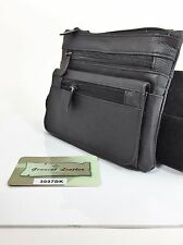 Motorcycle Pouch Genuine Leather With 2 Clip Belt Loops Color Black