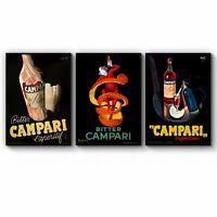 Set of Italian Campari Vintage Cafe Restaurant Art Print Poster Framed or Canvas