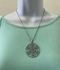 Stainless Steel MERKABA Pendant Necklace, 2.5mm Cable Chain