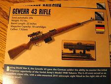 Gewehr 43 Rifle WW2 / World War 2 Germany Gun / Firearms Facts Card