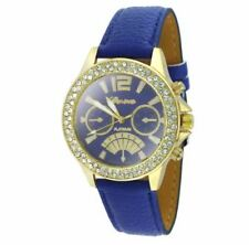 DOOKA  Geneva Numeral Faux Leather Quartz Crystal Stone Wrist Watch (Blue/Gold)