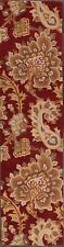 Hand Tufted Paisley Red Floral Runner Agra Oriental Rug Wool Carpet 3'x10'