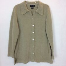 Denim & Co. Long sleeve Chenille Button Front Big Shirt Jacket Large Tan (AA15)