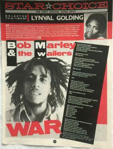 BOB MARLEY - WAR - Songwords Clipping - 28cm X 21.5cm