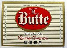 Butte Brewing Co BUTTE SPECIAL BEER vintage beer label MT 12oz 4% ABW