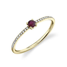 Ruby Diamond Solitaire Ring 14K Yellow Gold Round Cut Natural 0.22CT Certified