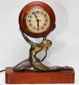 c.1940 vintage Art Deco SESSIONS CLOCK w/ NUDE LADY - Excellent Condition