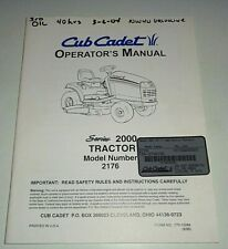 Cub Cadet 2176 Garden Tractor Owners Operators Maintenance Manual Original!