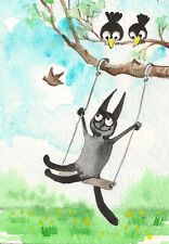 ACEO PRINT OF PAINTING BLACK CAT WATERCOLOR CROW ILLUSTRATION SPRING FOLK ART