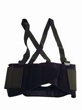 Back Support Belt & Waist Brace W Adjustable Suspenders Black