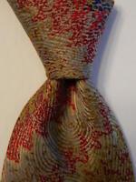 MISSONI Men's 100% Silk Necktie ITALY Designer Geometric Tan/Red/Blue/Gold EUC