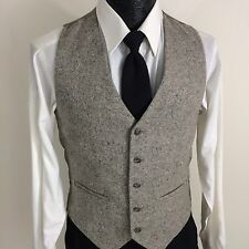 Adolfo Men's Gray FLECK Wool TWEED Waist Coat Sportsmans Button Down Vest S 36
