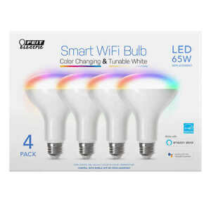 Feit Electric Wi-Fi Smart Bulb BR30 Color Changing, 4-pack