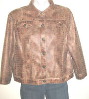 Ruby Rd. Faux Snakeskin Brown Jean Style Button Down Jacket Size 12