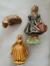 Lot Of Red Rose Tea Wade Figurines? Girl w/ watering can, ladyW/gown, ferret?