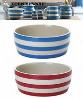 Cornishware Blue or Red & White Stripe Stoneware Dog Bowl Dish