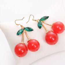 Kitsch Cute Chandelier Drop Dangle Red Earring Rhinestone Cherry Earrings