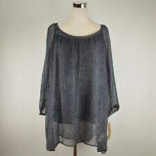 DKNY JEANS Gray Animal Print Tunic NWT $89 Sheer Blouse Light Top Plus Size 3X