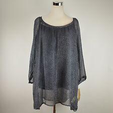 DKNY JEANS Gray Animal Print Tunic NWT $89 Sheer Blouse Light Top Plus Size 3X