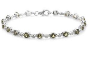 Moldavite Bracelet Platinum / Sterling Silver W/ Zircon4.90 Carats AUTHENTIC!