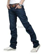 Nuevo Para Hombre Vaqueros Corte Normal Diseñado Azules Pantalones Largos Recto