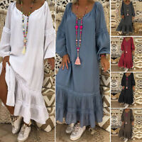 UK Womens Kaftan Long Sleeve Flare Ruffle Evening Dress Casual Loose Long Dress