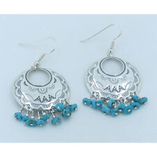 QVC 925 Sterling Silver Natural Kingman Blue Turquoise Nugget Hook Earrings