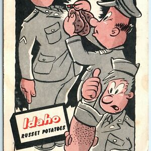 Idaho Russet Potatoes Comic Ernie Hager Postcard WWII Armed Service Military A10