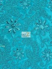 GLAMOROUS FLORAL BRIDAL SATIN SEQUINS DRESS FABRIC - Turquoise - WEDDING PROM