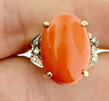 Gold Vintage Cocktail Ring ~ Italy Fine Sardinian Red Coral Diamonds 14K Yellow