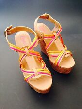 Reduced Candie's Havana Colorful Strappy High Wedge Platform Sandal Sz 10