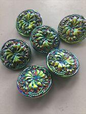 "vinatge 6 Czech Vaseline iridescent Glass Buttons 23 mm or 7/8"" UV React"