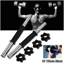 Pair 14'' Chrome Dumbbell Bar Steel Weight Lifting Gym + 4 Spinlock Collar