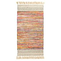 ⭐ Chenille Chunky Tassels Cotton Chindi Rag Rug Rainbow Multicoloured Braided