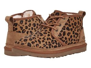 Women's Shoes UGG NEUMEL LEOPARD Lace Up Ankle Boots 1116291 NATURAL