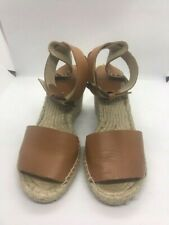 SOLUDOS Espadrille Wedges  Leather Ankle Strap Heeled Sandals Beach Size 8 Beige