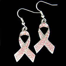 w Swarovski Crystal Rose ~Pink Breast Cancer Awareness Ribbon Charm Earrings New