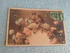 Carte Postale Couleur Jeune Fille Union Postale Universelle 2 Timbres Verso 1913