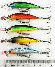 A0291 SET 5 ARTIFICIALI SPINNING MINNOW 3,6 GR 5,5 CM BLACK TROTA LUCCIO PIKE