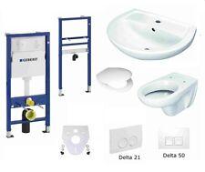 Geberit Duofix Basic Vorwandelement Keramag WC + Waschtisch Delta Drückerplatte