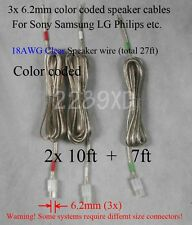 3c speaker cable/wires 27ft made for 6.2mm Sony Samsung Lg Philips Ht/Plasma Tv