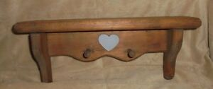 "Wood wall shelf, 2 1/2"" x 12 3/4"", 2 pegs, medium stain, heart applique"